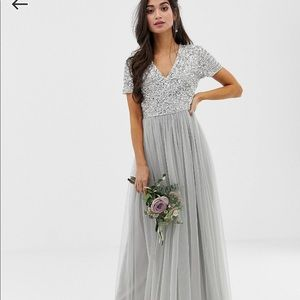 ASOS Light Gray Sequin Bridesmaid Dress